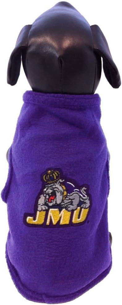 NCAA James Madison Dukes Sleeveless Polar Fleece Dog Sweatshirt X-Small