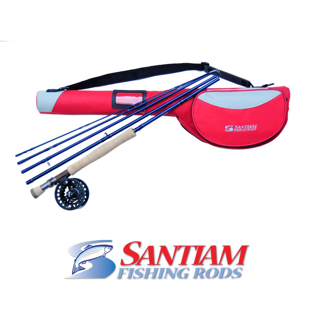 Santiam Fishing Rods Travel Fly Rod 5 Piece 9' 7/8 Line WT Graphite Fly Rod/Reel and DLX Case Combo by Santiam Fishing Rods