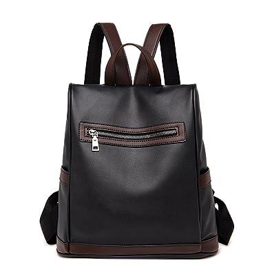 cc25020663f9 ... Solid Color Leather Zipper School Bag Backpack Satchel Women Travel  Shoulder Bag Brown Black Waterproof Mens Changing Sprayer Reins Water  Converse