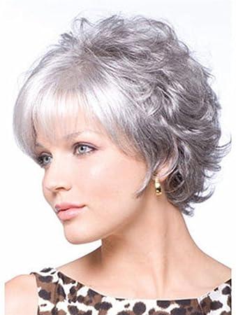 Dbtxwd White Grey Wig Flauschige Mode Lebensechte kurze lockige ...