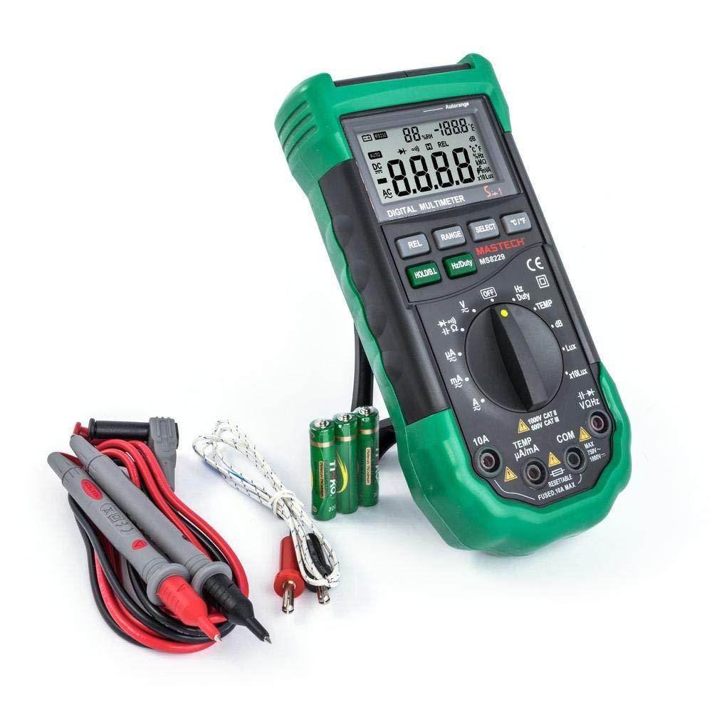 MS8229 MASTECH Spitzenklassemultimeter DMM DCV//ACV//DCA//ACA//Ohm//Cap//Hz//Duty Cycle//Temp//RH//Lux//Schall mit automatischer Bereichsumschaltung