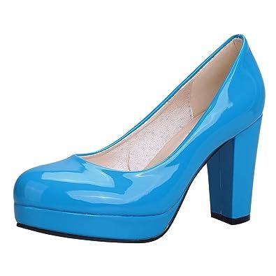 UH Damen Lack High Heels Plateau Geschlossene Pumps mit Blockabsatz 9cm Absatz Work Office Schuhe