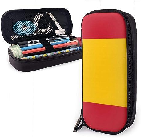 UKFaaa - Estuche de Piel con Cremallera para lápices, diseño de Bandera española, Negro, Talla única: Amazon.es: Hogar