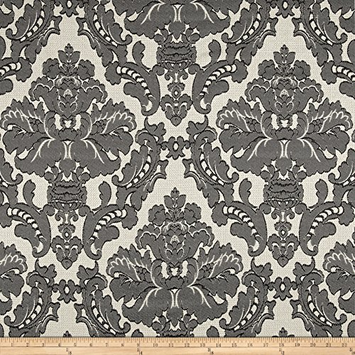 Bellagio Parisian Alisace Basketweave Jacquard Damask Gunmetal Fabric By The Yard