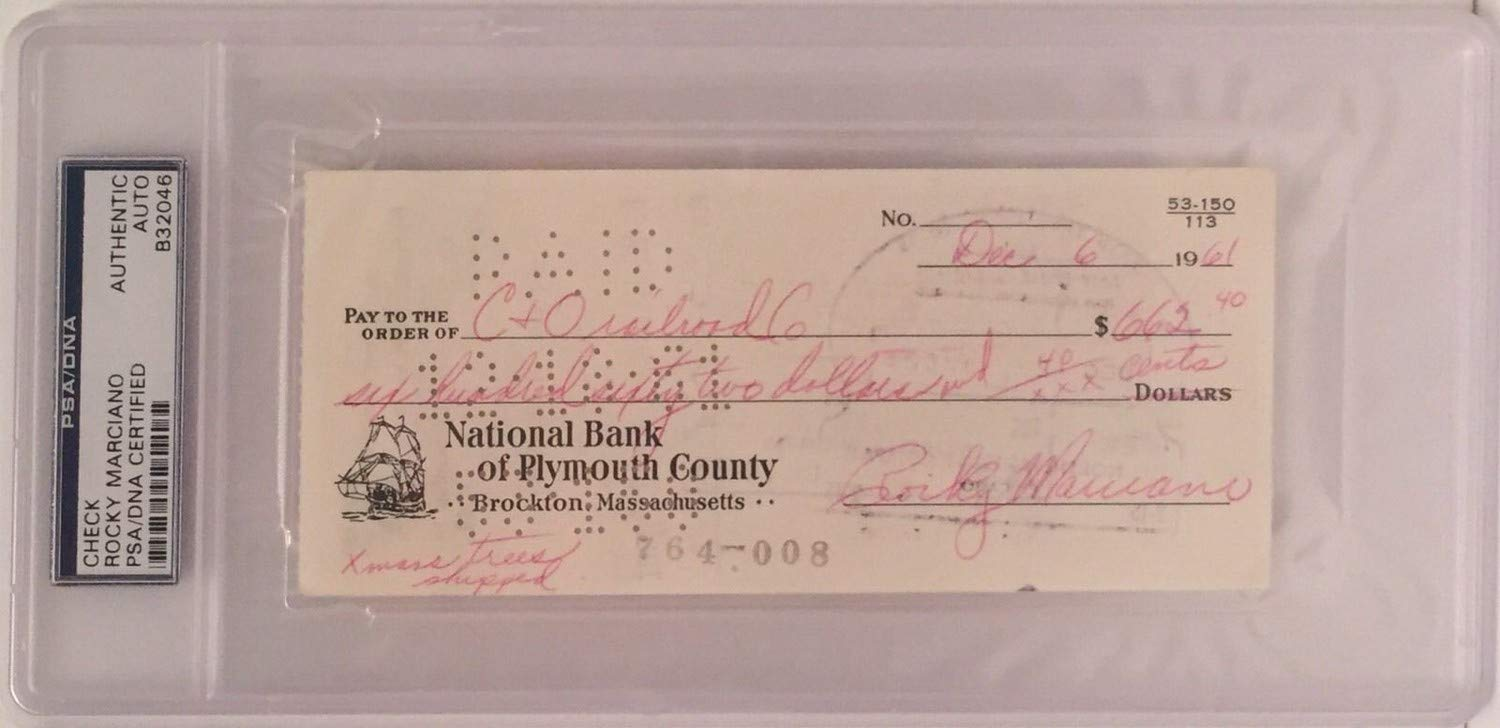 Rocky Marciano Autographed Signed Check Boxing PSA/DNA Slabbed