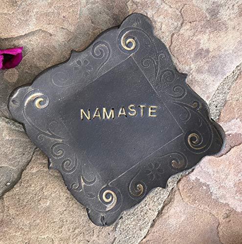 Earthenware Square Plates - Black Clay Namaste Ring Dish, handmade ceramic small plate - stock photo, please read description