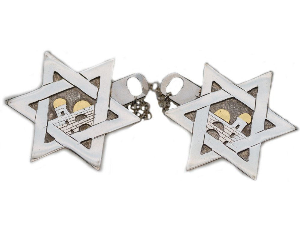 Baltinester Star Of David and Jerusalem Tallit Clips Silver and Gold