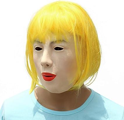 Amosfun Una máscara de látex,una peluca rubia,una máscara de látex,maquillaje,máscara de maquillaje.: Amazon.es: Belleza