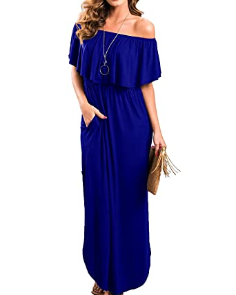 10cacf412256 Uniboutique Womens Fashion 2018 Loose Fit Off Shoulder Plain Solid Tunic Maxi  Long Dress with Pockets