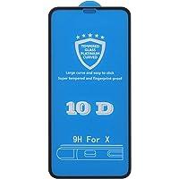 شاشة حماية زجاجية 10 دي خاصة بجهاز ابل ايفون اكس، لون اسود
