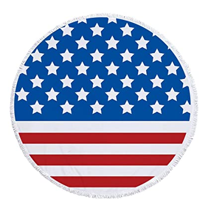 Newest American Flag Printed Round Beach Towel,Soft and Quick-Dry,Multi-Functional Pool Mat,Available as Sarong Pareo,Tapestry,Tablecloth,Yoga Mat, ...