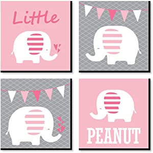 Big Dot of Happiness Pink Baby Elephant - Kids Room, Nursery Decor and Home Decor - 11 x 11 inches Nursery Wall Art - Set of 4 Prints for Baby's Room