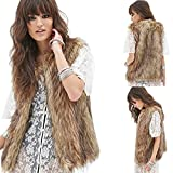 Dikoaina Womens Ladies Fashion Autumn and Winter Warm Short Faux Fur Vests Outwear Jacket (S)
