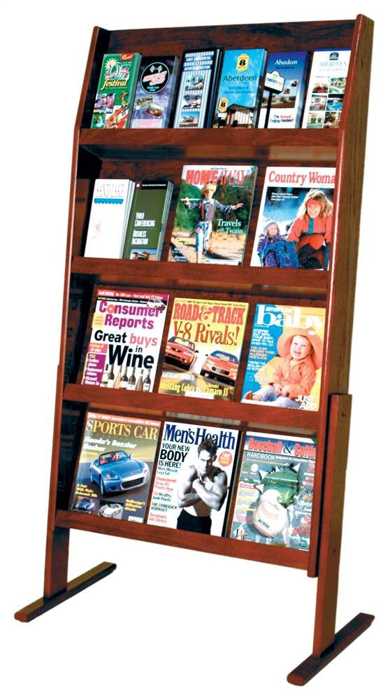 Wooden Mallet Slope 24 Pocket Standing Literature Display 4Hx6W, Mahogany