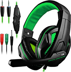 Gaming Headset,DLAND 3.5mm Wired Bass Stereo Noise Isolation Gaming Headphones with Mic for Laptop Computer, Cellphone, PS4 and so on- Volume Control (Black and Green)