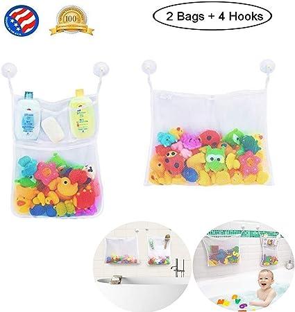 Ba/ño Bolsa de malla Idea regalo original Rosa Almacenamiento Ducha Ni/ñas Ahorra espacio Organizador de juegos Organizador de juguetes