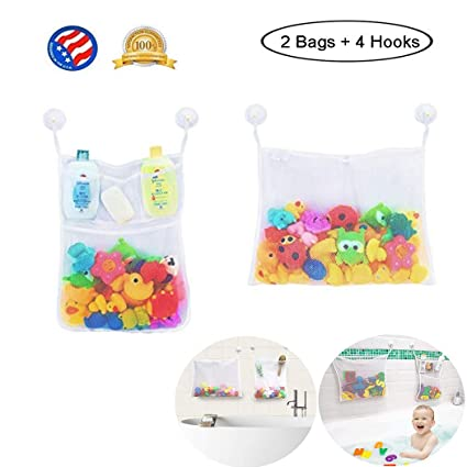 Amazon.com: Ztent organizador de juguetes de baño, 2 bolsas ...