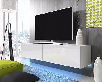 Wohnwand weiß hochglanz hängend  Lana – Fernsehschrank/TV-Lowboard mit LED Modern Hängend 200 cm ...