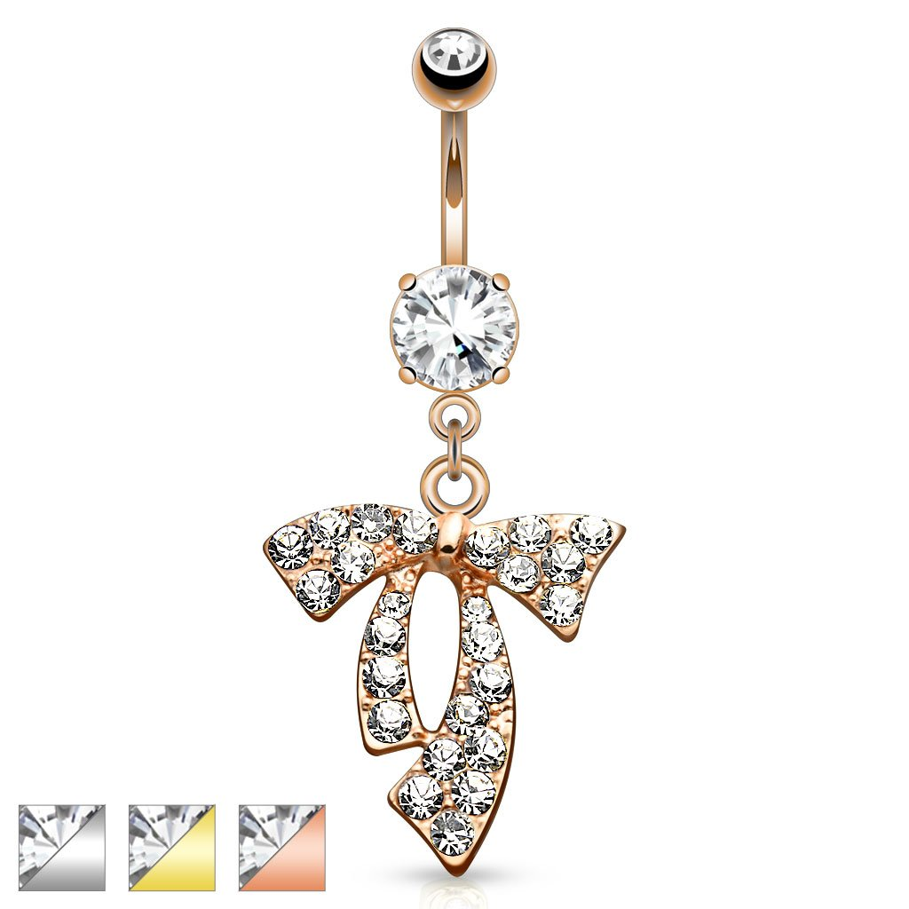 Dynamique RIBBON DANGLE PAVED WITH DAZZLING CLEAR GEM