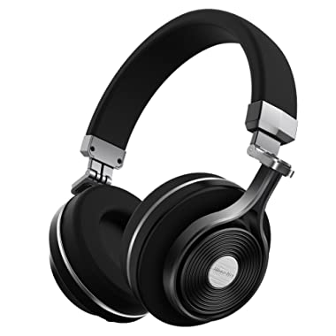Bluedio T3 Extra Bass Bluetooth Headphones On Ear Mic, 57mm Driver Folding Wireless Headset, Wired Wireless Headphones Cell Phone/TV/ PC Gift (Black)