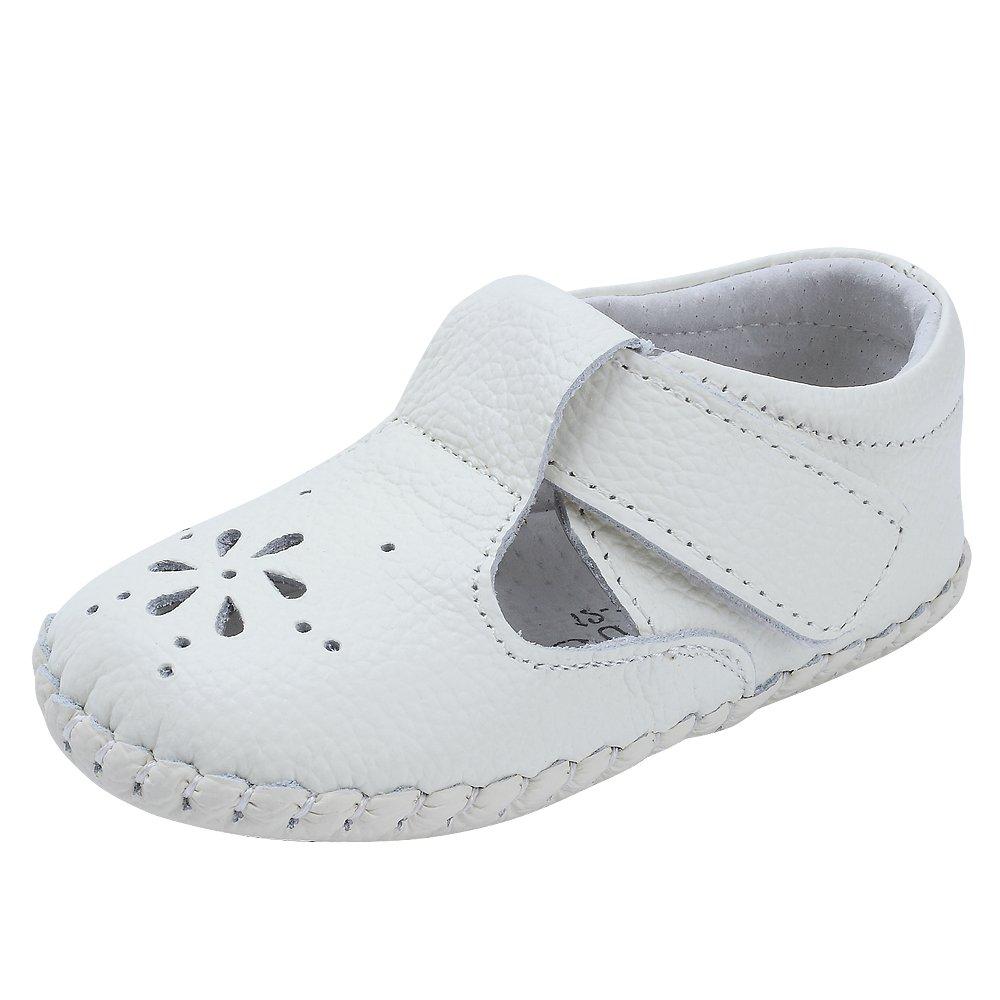 Kuner Baby Girls Genuine Leather Anti-Slip Summer Prewalker Toddler Sandals First Walkers Outdoor Shoes (12.5cm(12-18months), White-2) by Kuner (Image #1)