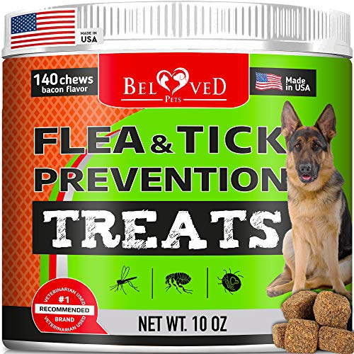 Beloved Pets Flea and Tick Control Treats for Dogs – Flea Prevention Soft Chews – Natural Tick Repellent Supplement – Made in USA – 140 Ct Bacon Flavor