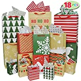 18 Pack Christmas Premium Holiday Gift Bags Assorted Creamy Kraft Style Prints for Xmas Goody Gift Bags, School Classrooms Party Favors Decoration, Holiday Present Wrap Décor.: more info