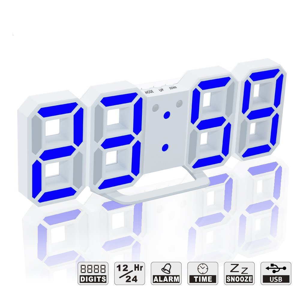 LED Digital Alarm Clock For Desk / Shelf / Tabletop, Modern Home Decoration 3D Wall Clock, Easy To Read at Night, Loud Alarm and Snooze, Big Digit Display (White Frame, Blue Light)