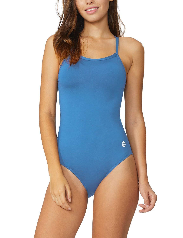 Baleaf Women's Athletic Training Adjustable Strap One Piece Swimsuit Swimwear Bathing Suit Sky Blue 32