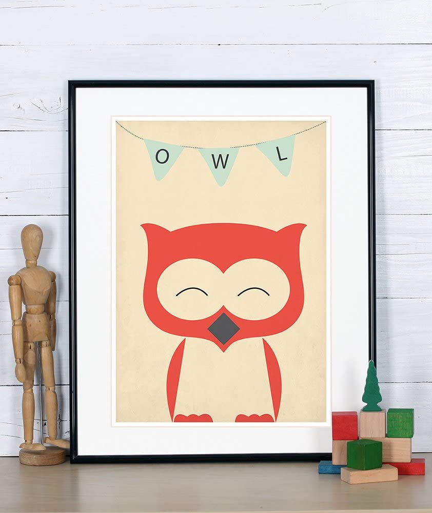 Nursery decor, owl, cute baby animals for kids, children's room picture, retro art print, vintage poster, A3