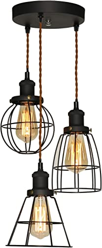 XIDING Industrial Antique Kitchen Island 3-Lights Metal Wire Cage Pendant Chandelier Lighting Fixtures Vintage Black Farmhouse Hanging Light 3 Sockets with Black Metal Cages