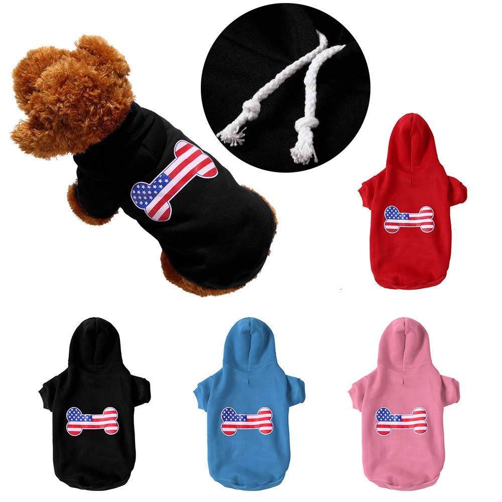 Amazon.com : BingYELH Soft & Comfy Dog Clothes National Pride Patriotic American Flag Puppy Hoodie Sweater Dog T Shirts Sweatshirt : Pet Supplies