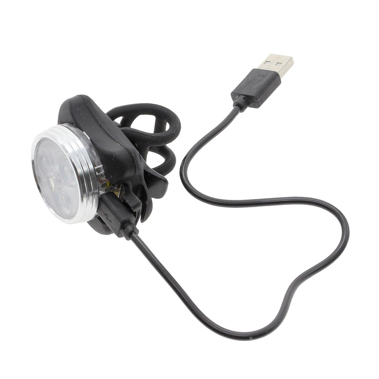 Blanco VANKER USB l/ámpara recargable Seguro 1X la bicicleta 3 LED frontal Cabeza Luz trasera