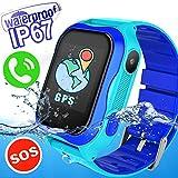 IP67 Waterproof Kids Smart Watch Phone - Kid Smartwatch Accurate GPS Tracker WiFi Location Boys Girls Cellphone SOS Anti-Lost Camera Game Pedometer Sport Summer Digital Wrist Watch, Blue