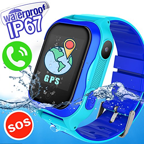 IP67 Waterproof Kids Smart Watch Phone - Kid Smartwatch Accurate GPS Tracker WiFi Location Boys Girls Cellphone SOS Anti-Lost Camera Game Pedometer Sport Summer Digital Wrist Watch, Blue by Kidaily