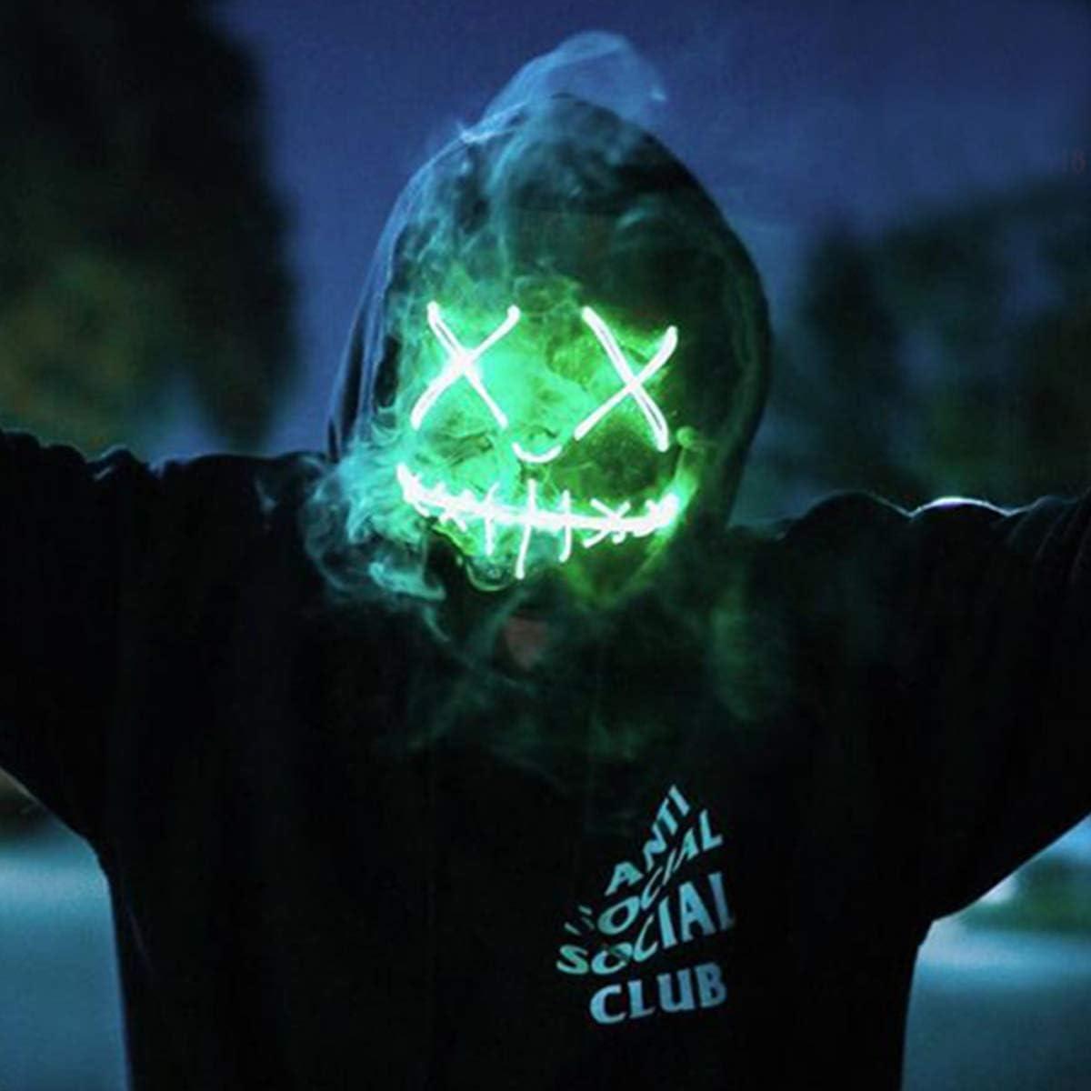 Light up Mask Led Mask Halloween Mask Led Mask Light up Mask Scary Mask for Festival Cosplay Halloween Costume Party