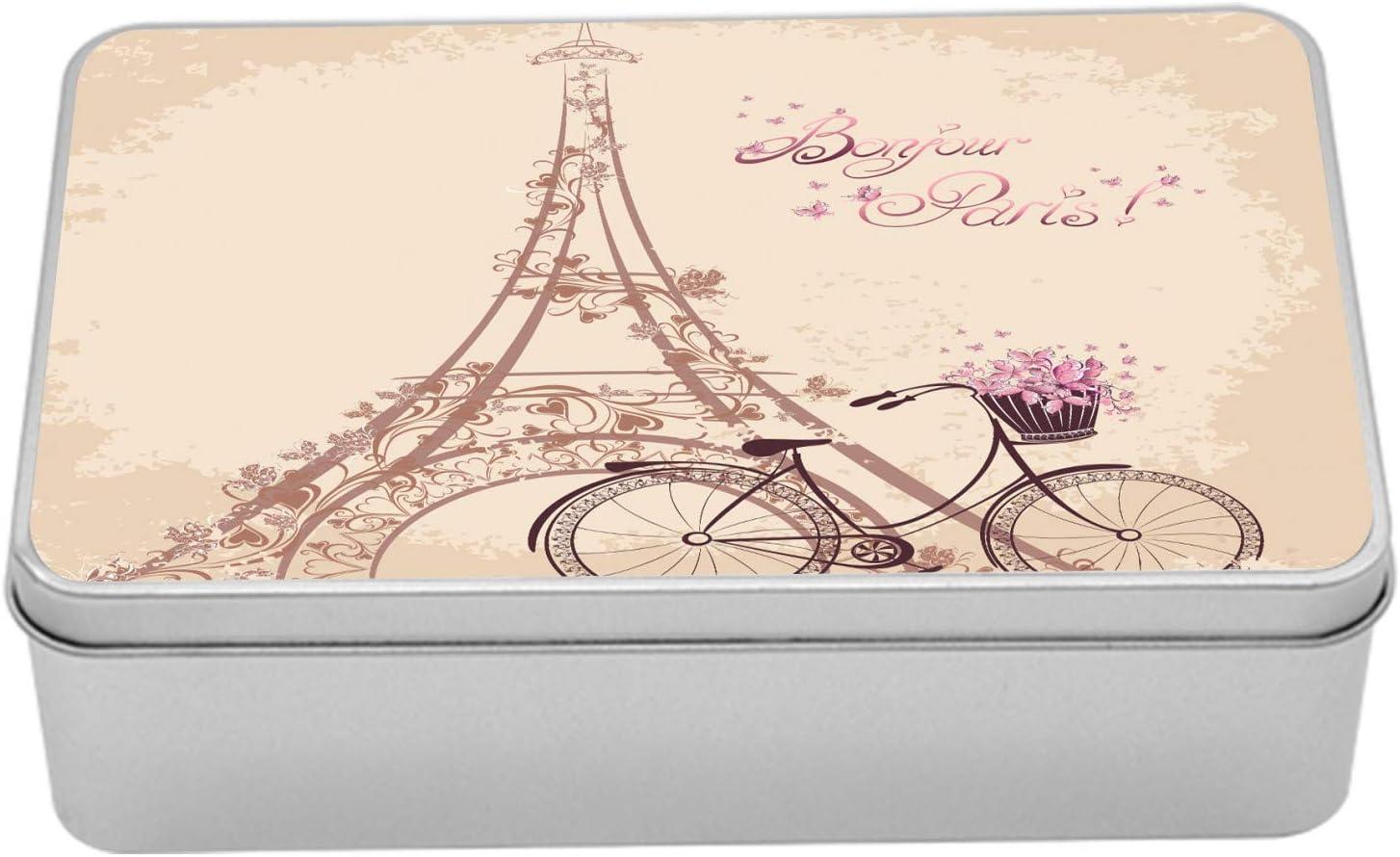 French Vintage Tin Box PARIS Red Rose Storage Metal Box with Lid