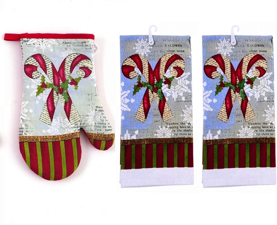Plum Nellie's Treasures Christmas Kitchen Holiday Towel, Pot Holder & Oven Mitt Sets (Oven Mitt & 2 Kitchen Towels, Candy Canes Traditional Christmas)