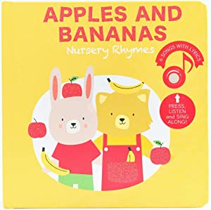 Cali's Books Nursery Rhymes Sound Book. Press, Listen and Sing Along! Interactive Book for Babies and Toddlers 1-3. Award Winner Toy (Apples and Bananas Nursery Rhymes)