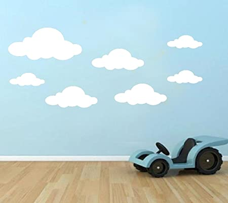 18x Cloud Wall Stickers Vinyl Decals Childrenu0027s Room Nusery Boys Girls  Transfer White
