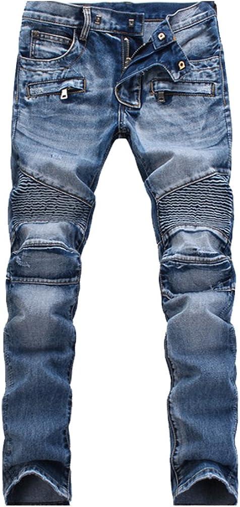 Lavnis Men's Slim Fit Vintage Distressed Motorcycle Jeans Runway Biker Denim Jeans
