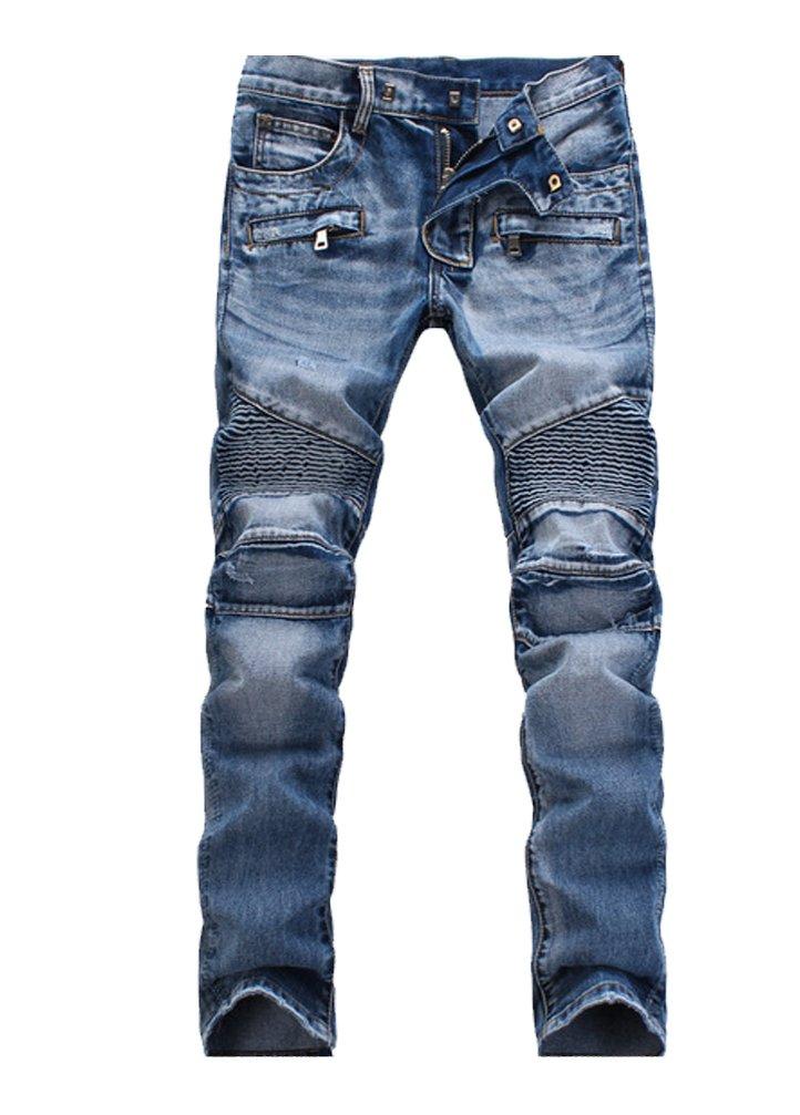 Vogstyle Men's Slim Fit Vintage Distressed Motorcycle Jeans Runway Biker Denim Jeans Style 5-Blue-32