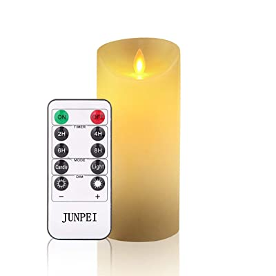 JUNPEI Flameless Candles Flickering LED Candles Set of 1: Classic Real Wax Pillar with Moving LED Flame & 10-Key Remote Control 2/4/6/8 Hours Timer Holiday Gift(Ivory): Home Improvement