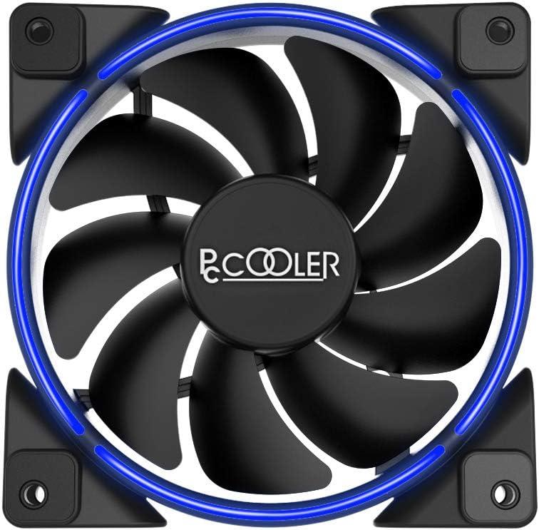 Pccooler 120mm Fan Moonlight Series, PC-M120B LED Blue Computer Case Fan - PC Cooling Fan - Dual Light Loop Quiet Fan for PC Cases, CPU Coolers, Radiators System