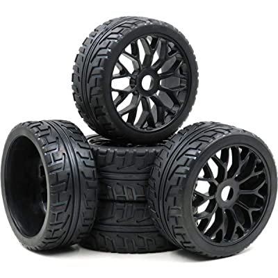 hobbysoul 5pcs RC 1/8 On Road Tires w/ Hex 17mm Wheels Rims for 1:8 RC On-Road Buggy Car: Toys & Games