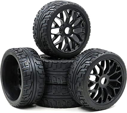 4pcs NEW 1//8 RC Rubber Tires w// Hex 17mm Wheels Rims For RC On-Road Buggy Car