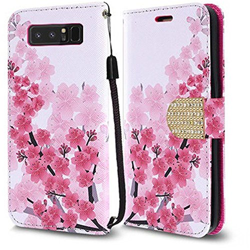 Samsung Galaxy Note 8 Case, Luckiefind Design Premium PU Leather Flip Wallet Credit Card Cover Case, Stylus Pen Accessories (Sakura) (Phone Samsung Faceplates Cell)