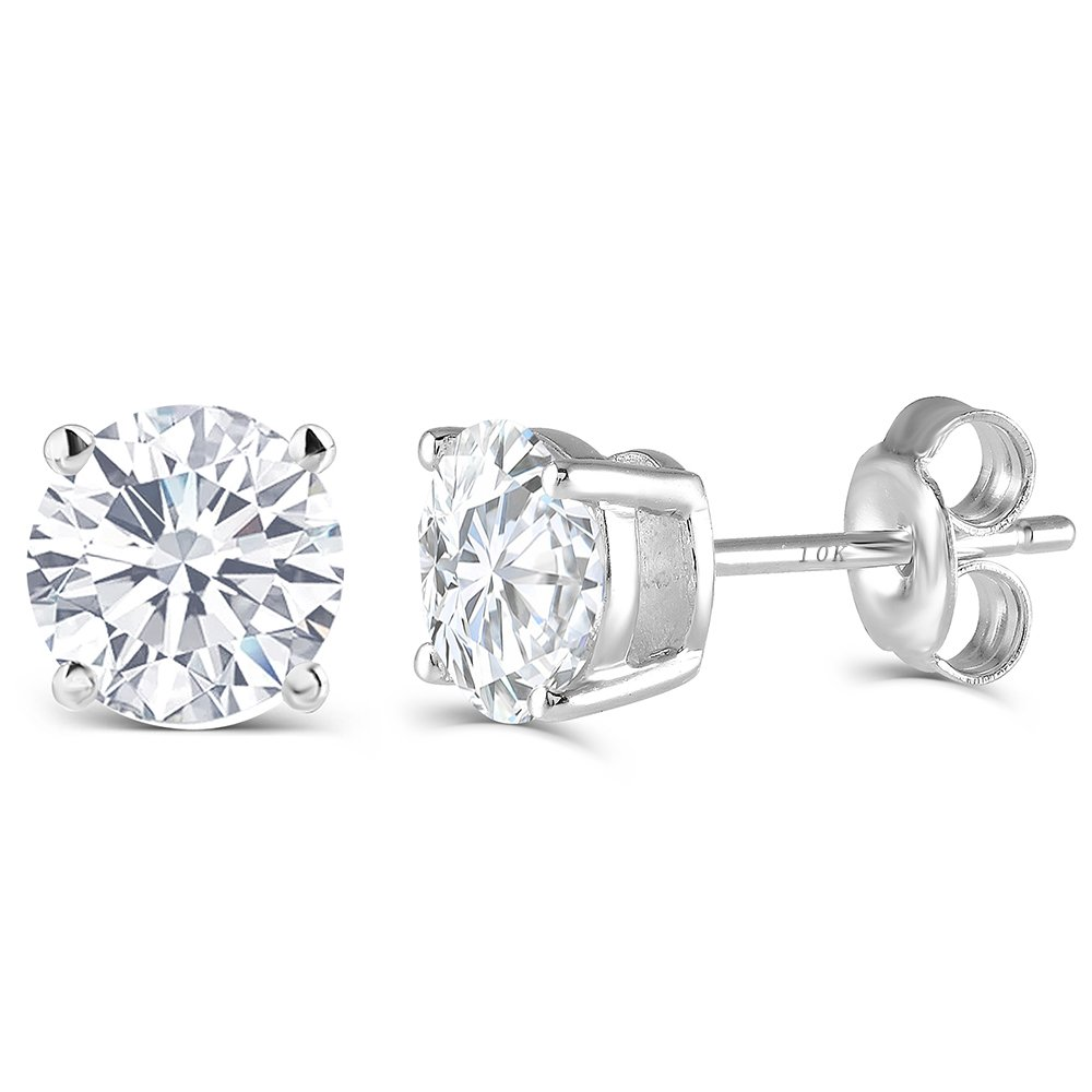 DovEggs Solid 10K White Gold Post 2CTW 6.5MM H-I Color Lab Created Moissanite Simulated Diamond Stud Earrings For Women Platinum Plated Silver by DovEggs