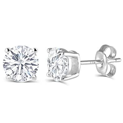 stud platinum online diamond real buy product silver flower over earring white sterling