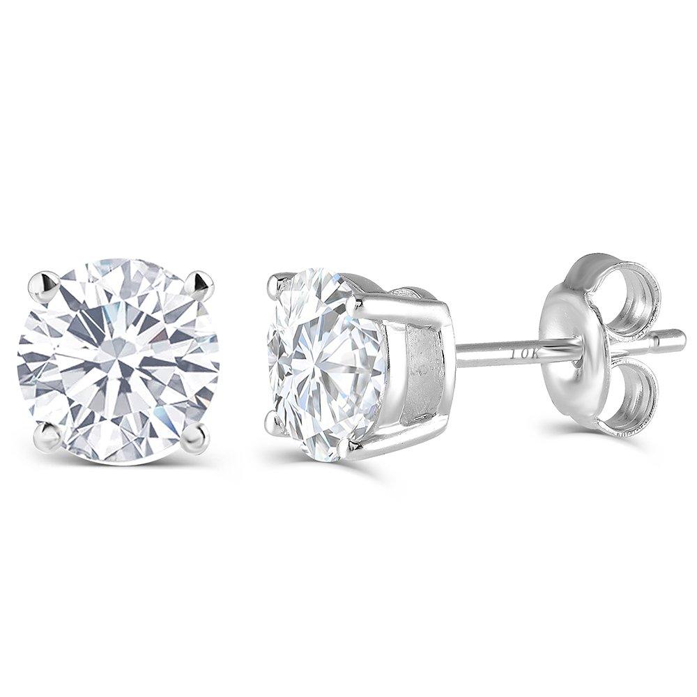 10K White Gold Post 2CTW 6.5MM H-I Color Moissanite Stud Earrings Platinum Plated Silver Push Back